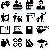 Tutoring and Education black & white icon set