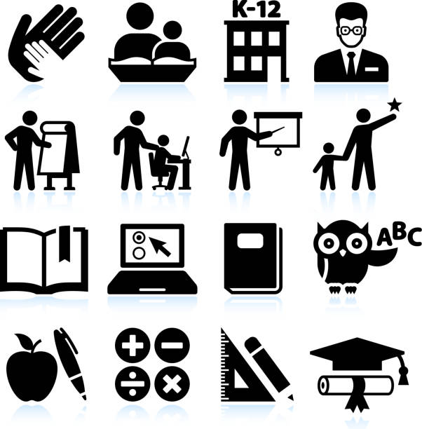 tutoring and education black & white vector icon set - black and white owl stock illustrations, clip art, cartoons, & icons