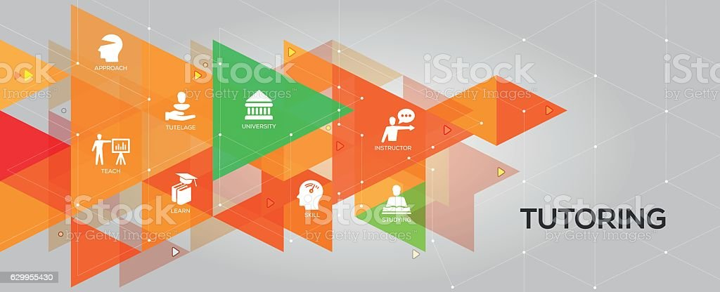 Tutoring banner and icons vector art illustration