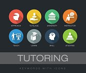 Tutoring chart with keywords and icons. Flat design with long shadows