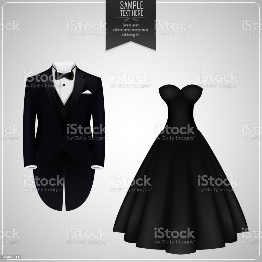 Tuxedo and bridal gown vector art illustration