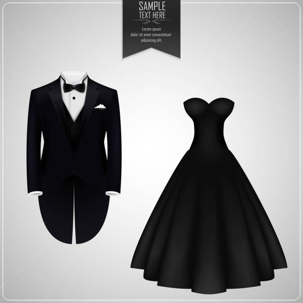 tuxedo and bridal gown - black tie events stock illustrations, clip art, cartoons, & icons