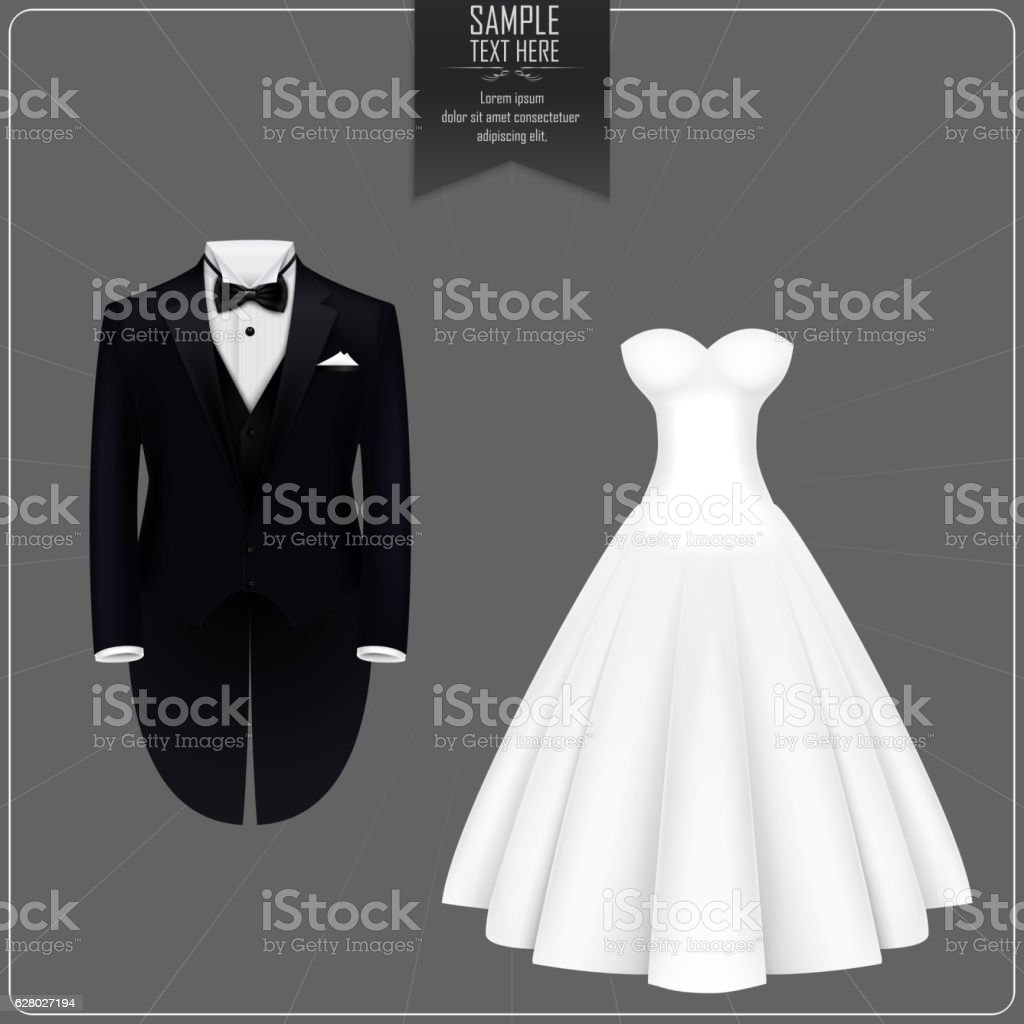 Tuxedo and bridal gown – Vektorgrafik