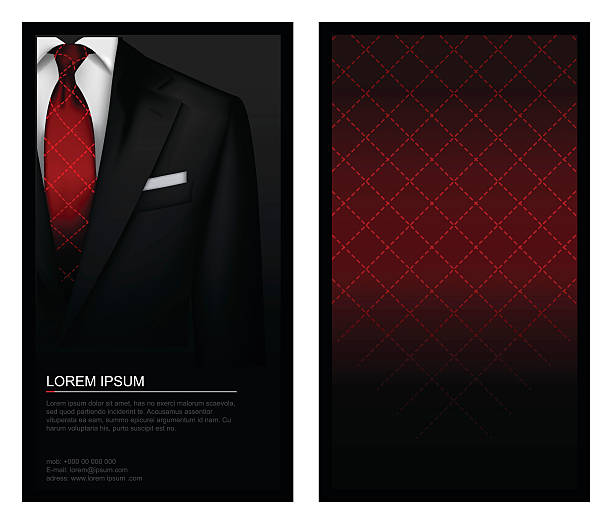 Tuxedo background with tie Business card illustration tuxedo stock illustrations