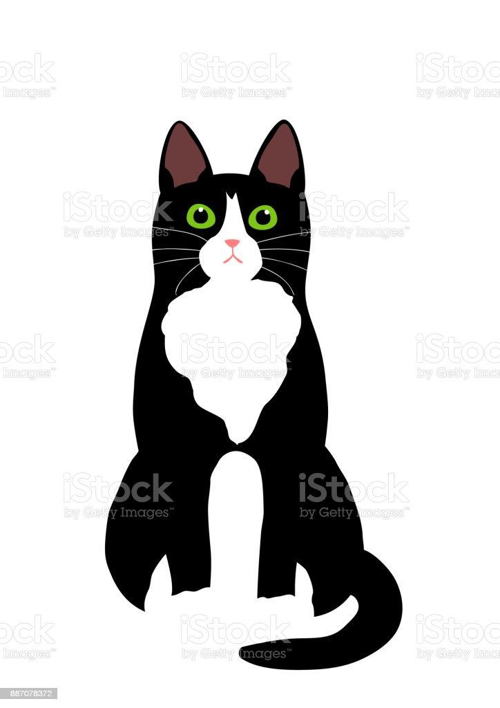 座っているタキシード猫 ベクターアートイラスト