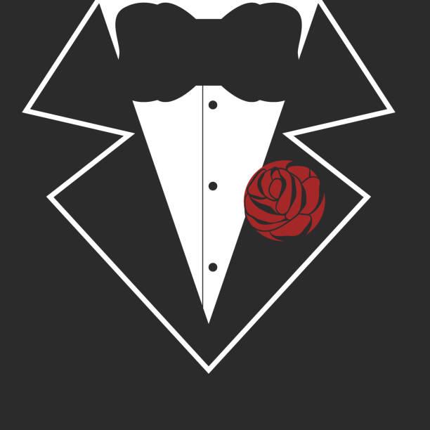 ilustrações de stock, clip art, desenhos animados e ícones de tuxedo design for t-shirt print - smoking