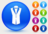 Tuxedo Icon on Shiny Color Circle Buttons. The icon is positioned on a large blue round button. The button is shiny and has a slight glow and shadow. There are 8 alternate color smaller buttons on the right side of the image. These buttons feature the same vector icon as the large button. The colors include orange, red, purple, maroon, green, and indigo variations.