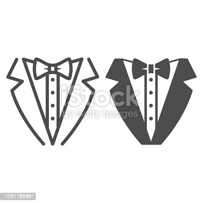 istock Tuxedo line and solid icon, Sea cruise concept, gentleman formal dinner jacket sign on white background, tuxedo and bow tie icon in outline style for mobile concept and web design. Vector graphics. 1281185991