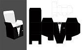 Tuxedo - printable square packaging with lid. Groom - wedding favor box. Fast and easy folded.