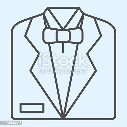 istock Tuxedo thin line icon. Black mens jacket and bow tie. Wedding asset vector design concept, outline style pictogram on white background, use for web and app. Eps 10. 1205830028