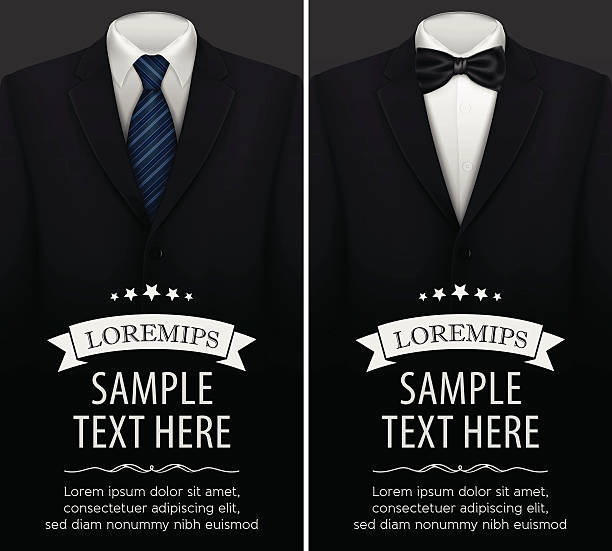 Tuxedo vector background with bow tie Tuxedo vector background with bow tie vector illustration eps-10 tuxedo stock illustrations