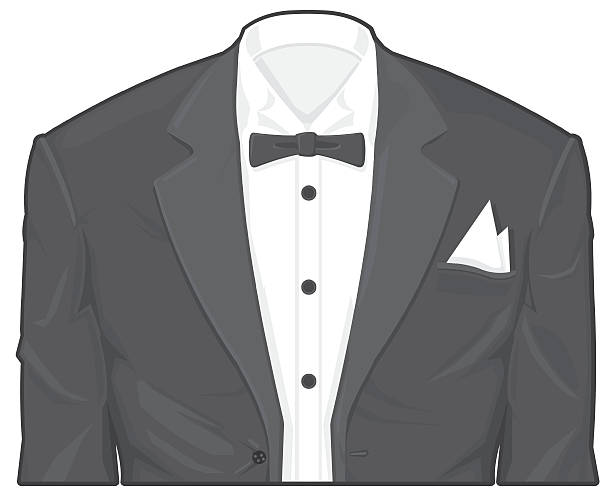 stockillustraties, clipart, cartoons en iconen met tuxedo - overhemd en stropdas