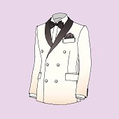 Vector illustration of white and black tuxedo. EPS10, AI CS, high res jpeg included.
