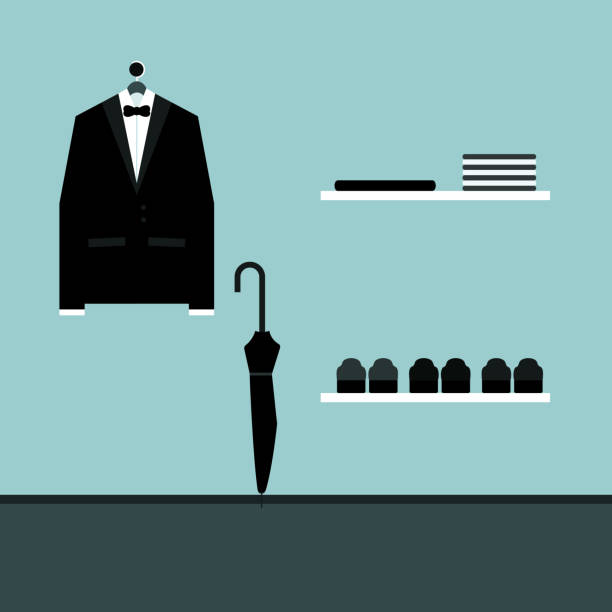stockillustraties, clipart, cartoons en iconen met tuxedo vectorillustratie - overhemd en stropdas