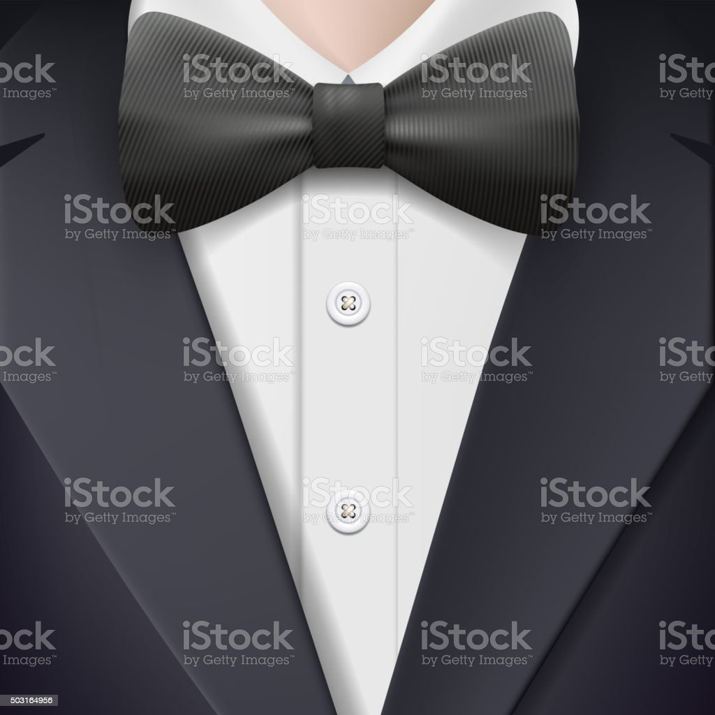 tuxedo with a bow tie. vector art illustration
