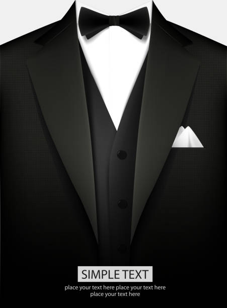 tuxedo with bow - black tie events stock illustrations, clip art, cartoons, & icons