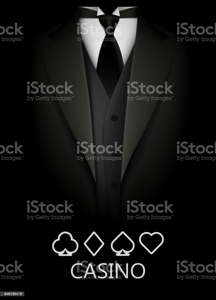 Tuxedo with suit of cards background. Casino concept. Elite poker club. vector art illustration