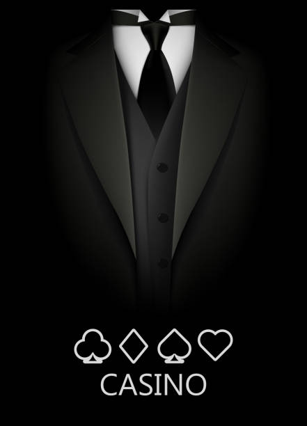 Tuxedo with suit of cards background. Casino concept. Elite poker club. Tuxedo with suit of cards background. Casino concept. Elite poker club. Clean vector illustration formalwear stock illustrations
