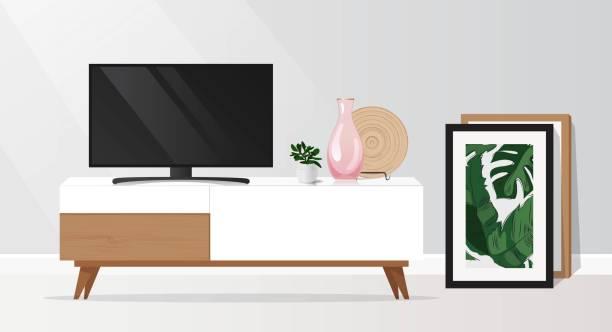 ilustrações de stock, clip art, desenhos animados e ícones de tv cabinet in modern living room. - sideboard