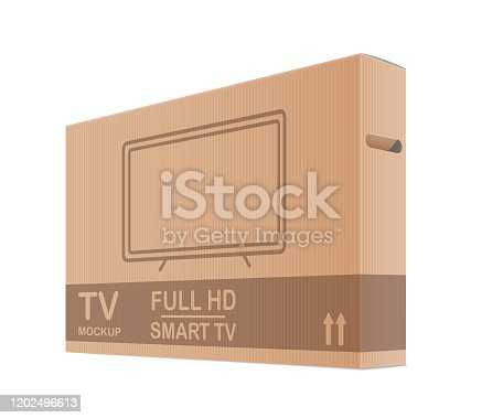 Tv Cardboard Box Package Isolated On White Background. 3d Vector Photo Realistic Illustration