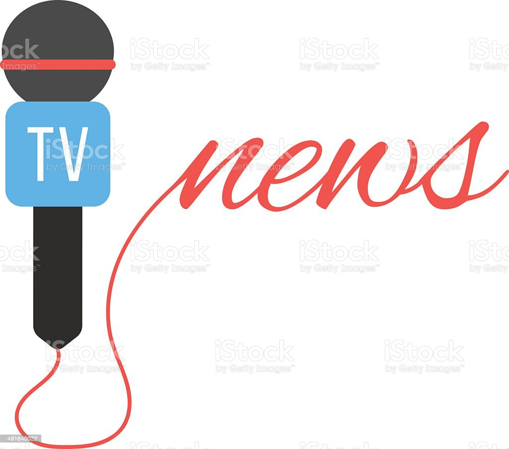 tv channel microphone with news lettering vector art illustration