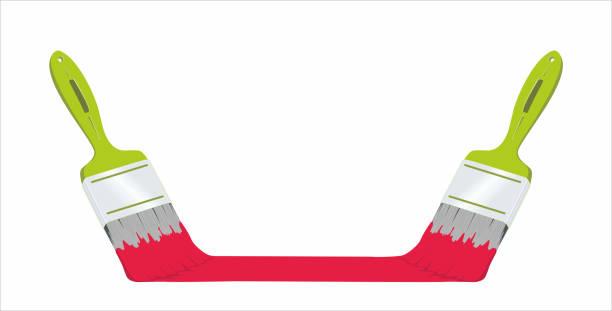 illustrations, cliparts, dessins animés et icônes de två gröna penslar med röd färg. plats för logotype och information - logo peintre en batiment