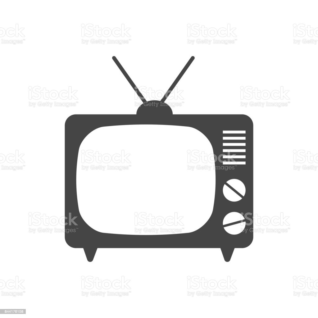 Tv Icon Vector Illustration In Flat Style Isolated On White ... for Tv Antenna Symbol  70ref