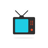 tv icon with shadow. concept of display box, ui radio. isolated on white background. flat style trend modern design vector illustration
