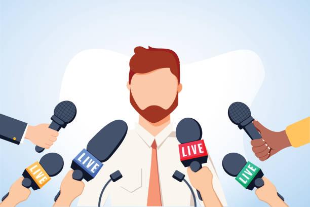 TV-Interview-Mikrofone, Ausstrahlung männlicher Sprache. Glücklicher populärer junger Mann, der Meinung, Geschäft, Politik aufzeichnet – Vektorgrafik