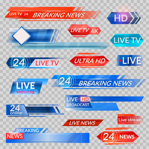 Tv news and streaming video banners Tv news and streaming video banners. Live, hd, 24 hours online display advertisements, commercials that appear before news or programmers. Vector flat style cartoon illustration publicité stock illustrations