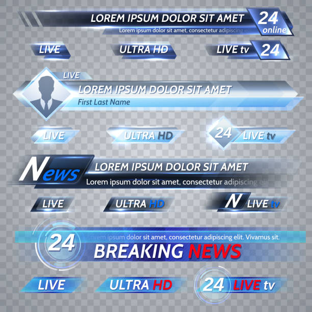 Tv news and streaming video vector banners Tv news and streaming video vector banners. Illustration of video stream banner, media poster for tv broadcast broadcasting stock illustrations