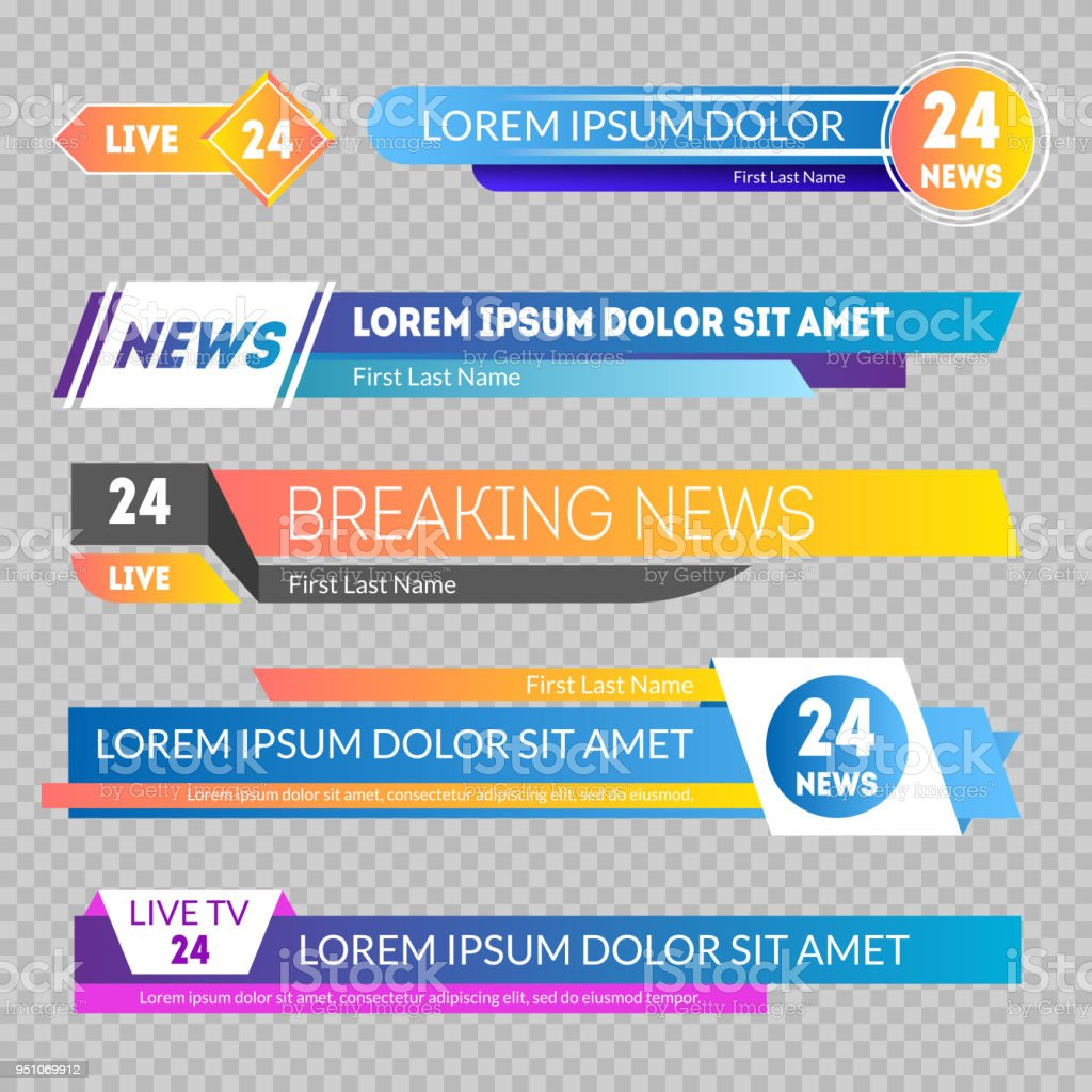 Tv News Banners on a Transparent Background. Vector