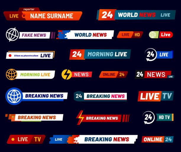 stockillustraties, clipart, cartoons en iconen met tv nieuws bar. televisie uitgezonden banner. vector set - nieuwsevenement