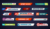 Tv news bar. Television broadcast media title banner. Sports tv show news channel media bar header or football advertising channels bars. Isolated vector symbols set