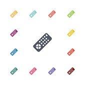 tv remote flat icons set
