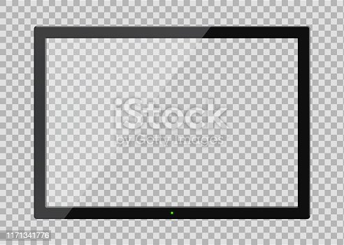Tv screen with glass reflection on transparent background. Tv monitor frame in mockup style. Black lcd plasma screen with reflection. Tv digital panel plasma. vector eps10