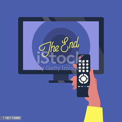 Tv set and a remote controller, the end of the movie screen
