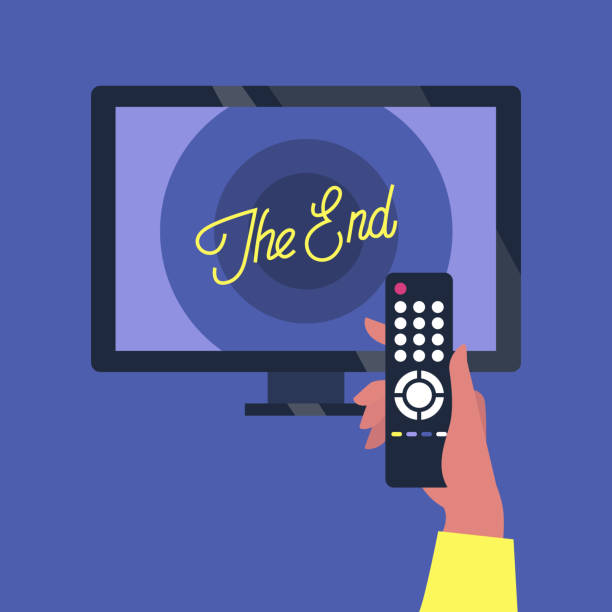 Tv set and a remote controller, the end of the movie screen Tv set and a remote controller, the end of the movie screen television set stock illustrations
