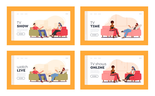 Tv Show with Guest Landing Page Template Set. Celebrity Characters Giving Interview to Television Presenter in Studio