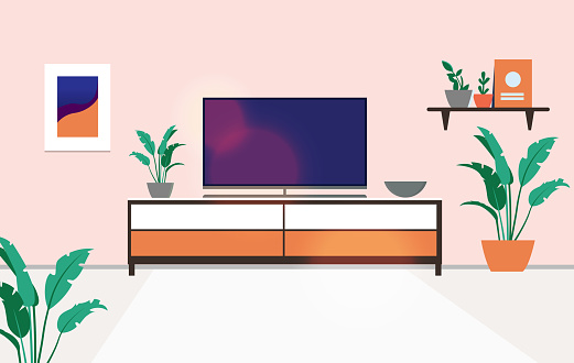 Tv stand in apartment - View of a turned off flat screen television on top of a bench in a regular home