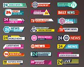 Tv title. Broadcasting banner graphic interfaces, tv streaming lower bar. Breaking, fake and sport news screen header vector isolated symbols game strip display templates