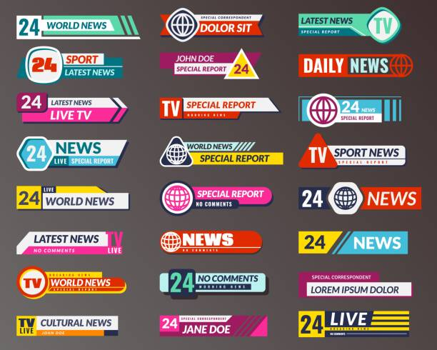 stockillustraties, clipart, cartoons en iconen met titel van de tv. uitzenden banner grafische interfaces, tv streaming lagere bar. breaking, fake en sport nieuws scherm header vector templates - onder