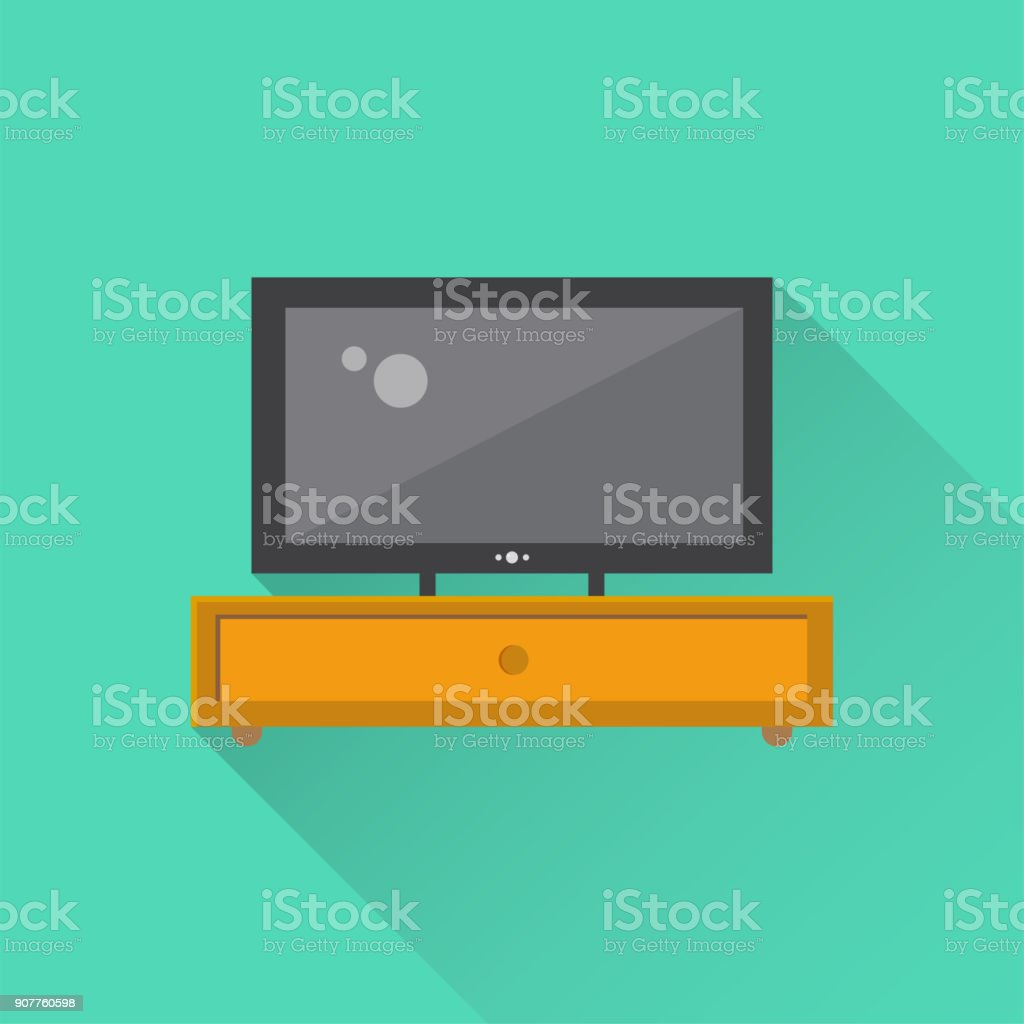 Tv Unit Flat Icon vector art illustration