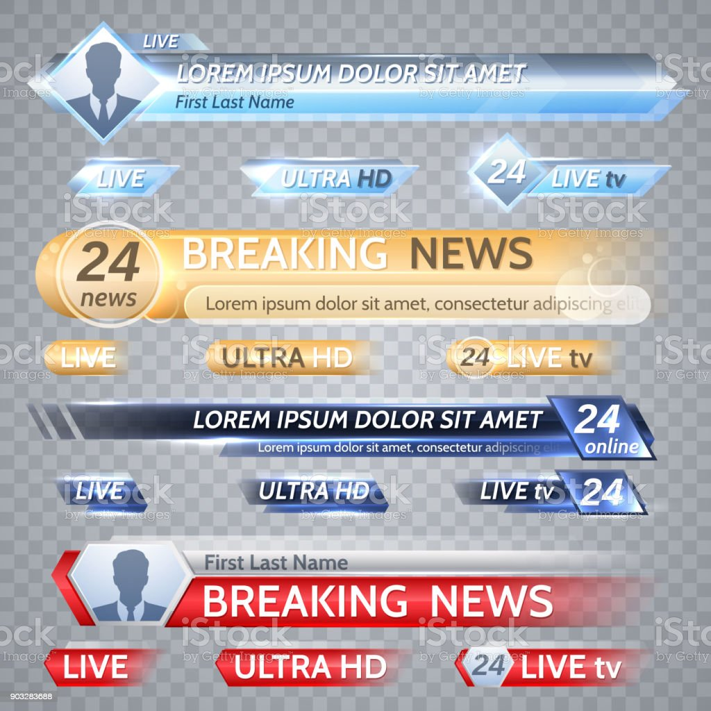 Tv vector bars and broadcast graphics for lower third news background vector art illustration
