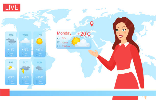 ilustrações de stock, clip art, desenhos animados e ícones de tv weather forecast report vector illustration, cartoon flat attractive weatherwoman character reporting on climate change in news, showing weather screen chart background - weatherman