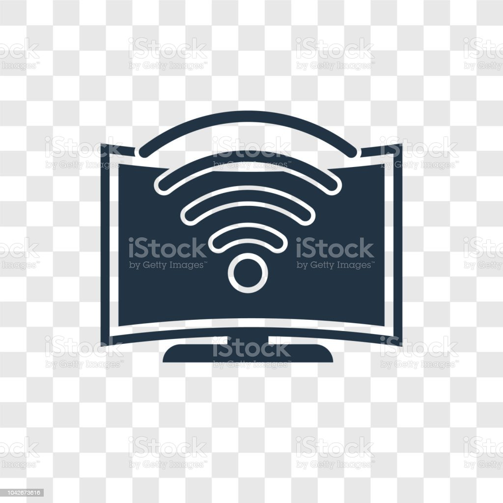 Tv Wireless Connection vector icon isolated on transparent background, Tv Wireless Connection transparency logo design vector art illustration