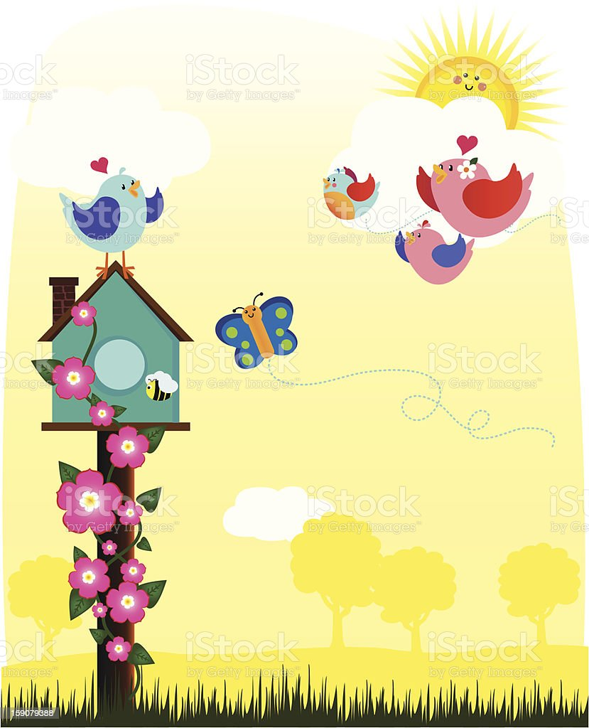 Tweet Home Welcoming vector art illustration