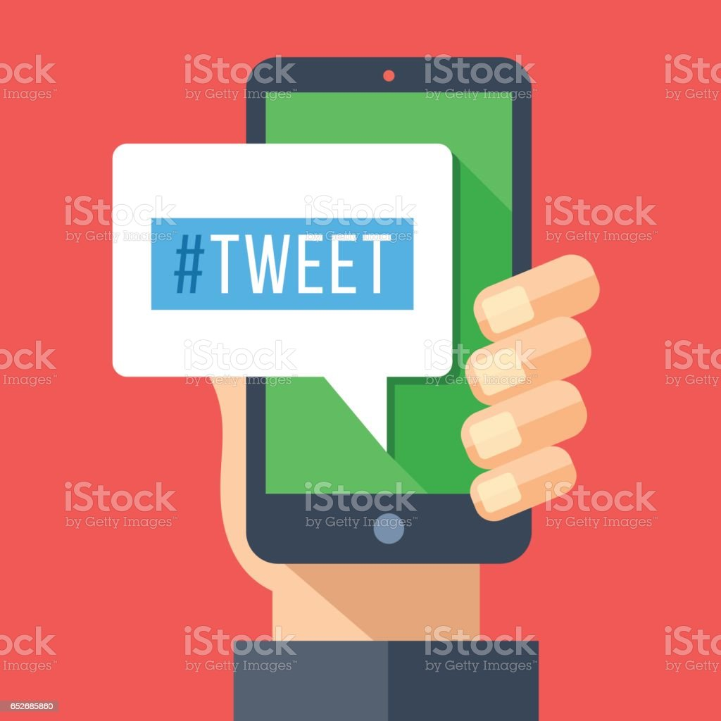Tweet message on smartphone screen. Hand holding smartphone. Reading or writing tweet on mobile device. Modern flat design vector illustration vector art illustration