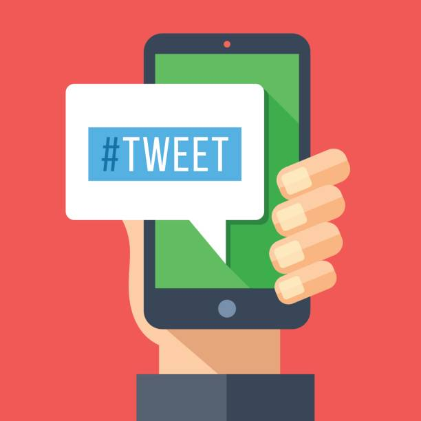 tweet message on smartphone screen. hand holding smartphone. reading or writing tweet on mobile device. modern flat design vector illustration - whatsapp stock illustrations