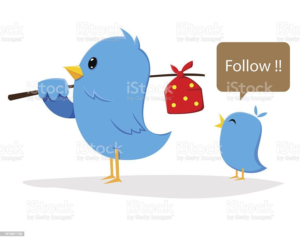 Tweeter Bird With Loyal Follower royalty-free stock vector art
